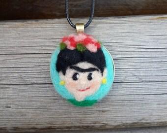 FRIDA necklace, Needle felted handmade pendant *free shipping*