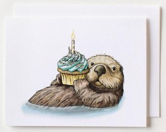 Otter Birthday Card w/Envelope {Single Card}