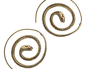 Spiral earrings snake around brass retired antique golden piercing tribal jewelry