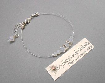 Bracelet témoin demoiselle d'honneur dégradé de perles en cristal, bijoux de mariées, accessoires - Bridal pearl and crystal bracelet