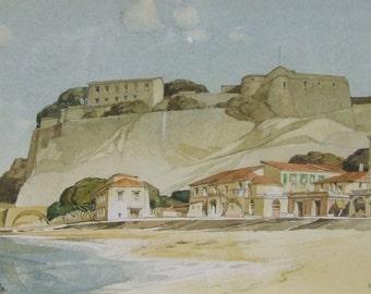 Edward Douglas Lyons Original vintage watercolour Italy Pizzo  1948 signed listed English artist framed Worldwide freight  искусство подарок