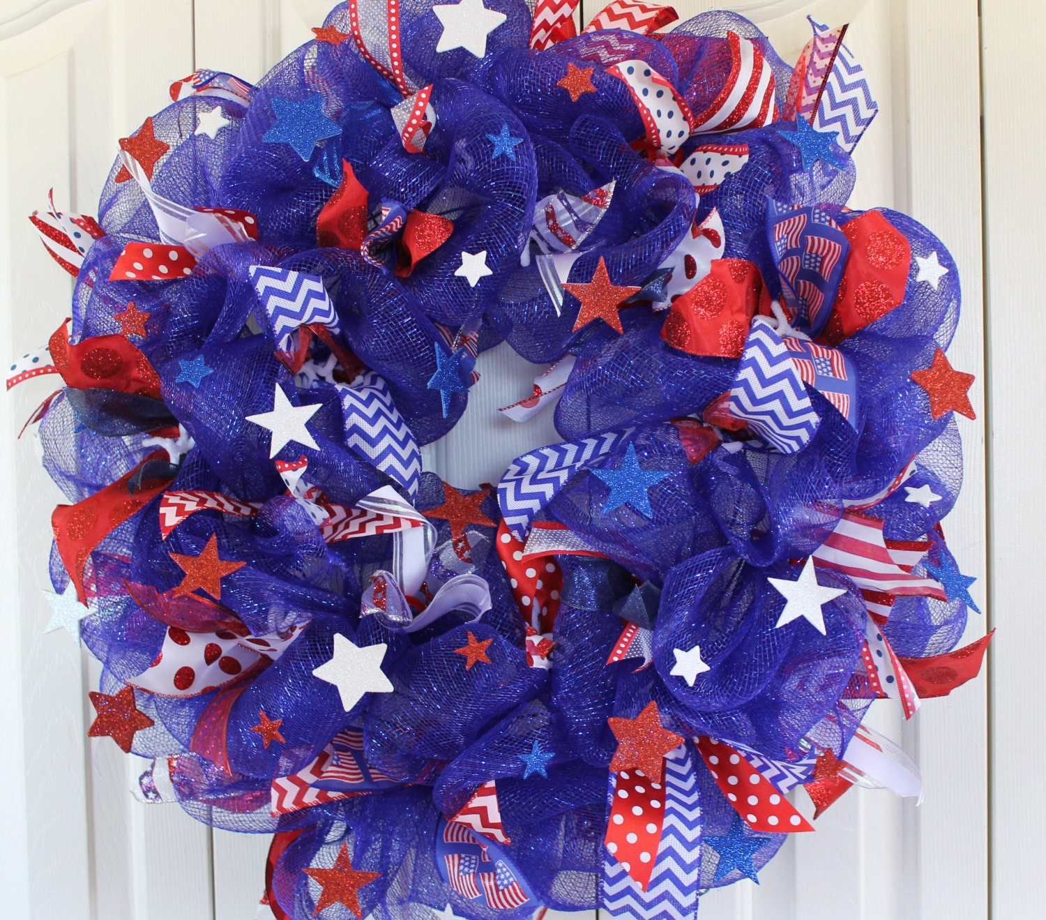Red white and blue christmas ornaments - Large Patriotic 4th Of July Deco Mesh Wreath Red White And Blue Sparkle