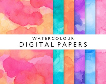 Bright vivid watercolor digital papers 12 x 12 inches