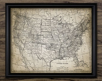 Vintage Map Of The United States - Rustic United States Map - Printable Art - Single Print #343 - INSTANT DOWNLOAD