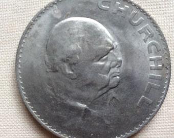 1965 Churchill Crown, collectable British coin, Elizabeth II, crown.