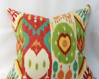Red green ikat throw pillow cover 18x18 Multicolor pillow Red green turquoise pillow Ikat pillow
