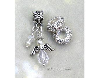 Guardian Angel Dangle Charm Fit European Charm Bracelet White Pearl Clear Swarovski Crystal Angel Charm Add A Bead Make Your Own #DC104
