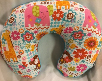 Boppy Nursing Pillow Cover- Animals, Elephants, Giraffes, Monkeys, Teal, Pink, Cuddle Fabric