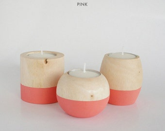 """Wooden Candle Holders in """"Pink"""""""