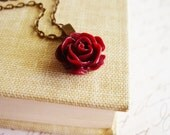 Deep Red Rose Necklace with Bronze Chain, Vintage-Inspired Maroon Floral Pendant Necklace, Resin Flower Jewelry