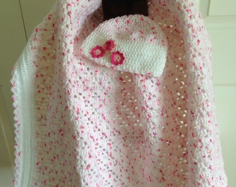 Flower Diamond Baby Afghan and Hat