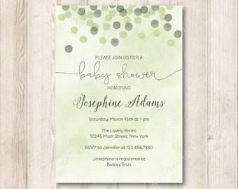 Confetti Gender Neutral Baby Shower Invitation, Printable Modern Sage Green Watercolor Invites, 5x7 JPG