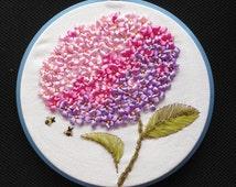 Purple Flower Hydrangea Ribbon embroidery painting handcraft cross-stitch kits DIY handmade needlework wall art decor gift idea