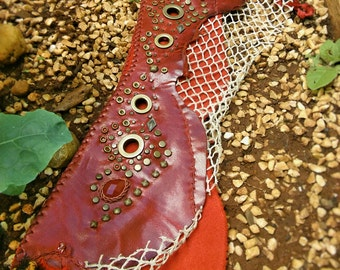 Gypsy Red Leather Belt with Fire Agate