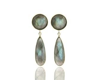 SALE - Long earrings,Labradorite earrings,gold earrings,long bezel earrings,teardrop earrings,custom stone earrings