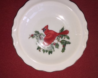 "Lefton Cardinal 10 1/2"" dinner plate Christmas Patterne Holly China Piece"