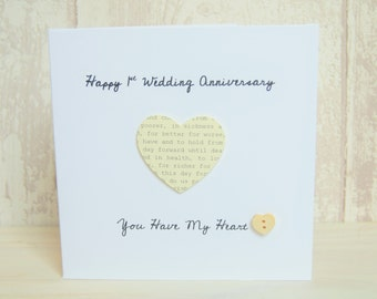 1st Wedding Anniversary Personalised Paper Heart Card