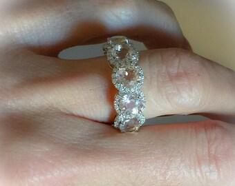 Morganite & Diamond Ring 5 Stone Halo Band 2.80ct Genuine Round Morganites .35ct Genuine Diamonds Anniversary Band Pristine Custom Rings