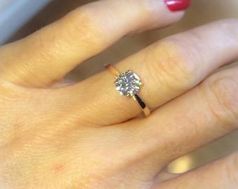 Forever One Moissanite Engagement Ring 1.0ct Wedding Anniversary Ring 18k Rose Gold Nature Inspired Bloomed Love Ring Pristine Custom rings