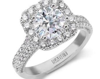 Halo Moissanite Engagement Ring 1.20ct Round Forever One Ring .93ct Natural Diamonds 18k white gold Wedding Ring Pristine Custom Rings