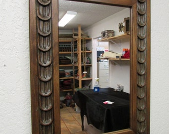 Antique Old Door Carved Rustic Mirror-Mexican-19x27.5 in-Wood-Wall-Large-Beautiful-Panel-Primitive-Vintage
