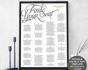Seating chart sign wedding seating chart poster