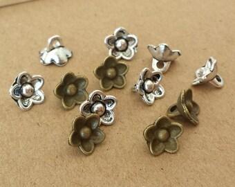 50pcs 6x8mm Cute Antique Bronze flowers Charm ,Antique Silver mini flowers Pendant ABf011