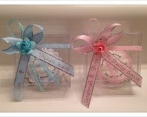 Rosary Favors - 12 Personalized Mini Rosaries w/Keepsake Box Baptism/Communion, Recuerdos de Bautizo