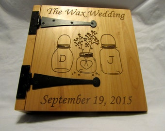 "Personalized Wedding Photo Album ""Mason Jars""- 3 Ring"