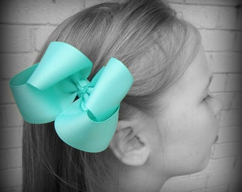 Aqua Hair Bow, Aqua Boutique Hair Bow, Aqua Hairbow, Aqua Hair Clip, Boutique Hair Bow, Hairbows, School Hair Bows, Hair Bows for Babies