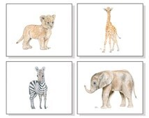 Safari Nursery Art Nursery Prints Baby Animal Prints Childrens Art Boys Room Wall Art Girls Room Watercolors 4 Elephant Giraffe Zebra Lion.