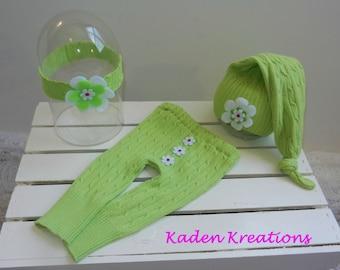 Upcycled Newborn Photography Prop, Baby Girl Posing Prop, Lime Green Upcycled Photography Prop, Lime Green Pants, Hat, Headband Photo Prop