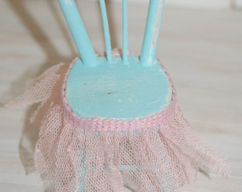 Miniature Shabby Chair with Tulle Trim
