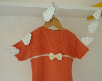 Hand knitted baby dress / knitted baby clothing / Merino wool dress / hand knitted newborn dress