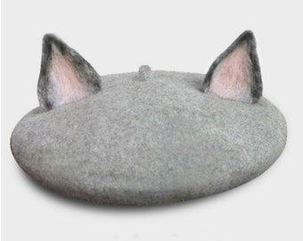 Once upon a time handmade animal grey cat/orange fox beret hat