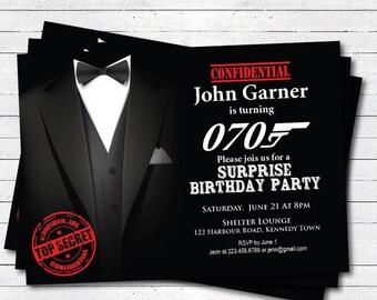 Surprise 70th birthday invitation. Any age surprise birthday invitation. 40th 50th 60th 70th birthday invite, black tie event. AB048