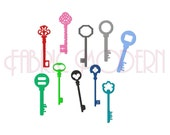 SKELETON KEY Embroidery Design Collection, Old keys, vintage key, antique key, 10 designs for 4x4 hoops,  #431