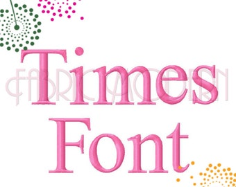 TIMES FONT Embroidery Design, four sizes from 1/2 inch to 1.5 inches, #598