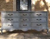FREE SHIPPING - Antique Pale Grey Vintage 9 Drawer French Provincial Dresser