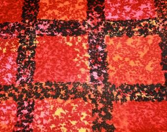 "Vivid Barkcloth Grid Yellow Black Orange Pink Maroon 45"" x 8 Yds. NWT"