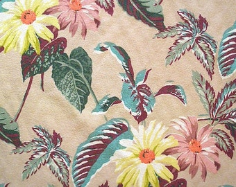 """Bark Cloth Vintage Floral Selvage Panel NWT 63"""" X 3.5 Yards Rose Yellow Daisy Exotic"""