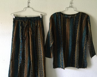 Vintage 1980's Blouse and Pants India Two Piece Set