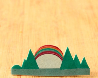 Abstract Rainbow Summer Mountains Brooch