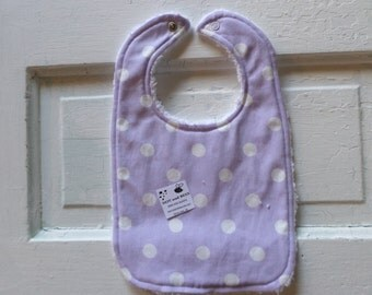 Adorable Lavender Baby Bib with white polka dots - FREE SHIPPING!