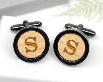 letter cufflinks initial cufflinks personalised gun metal cufflinks wood cufflinks custom initial cufflinks gun metal letter cufflinks