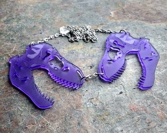 Dinosaur T-rex Skull Necklace, Dinosaur statement necklace, laser cut acrylic & steel T-rex necklace