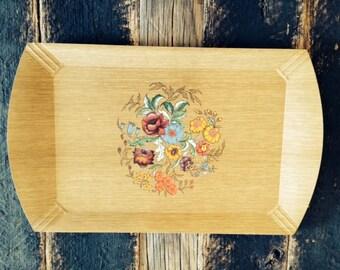 Vintage Haskelite Floral Motif Wood Tray