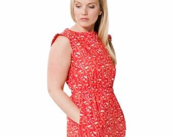 Red Summer Dress ~ Cherry Red Fabric ~ Red Floral Dress ~ Women's Floral Dress ~ Red Work Dress ~ Pocket Dress ~ Elastic Waist Dress ~ Women
