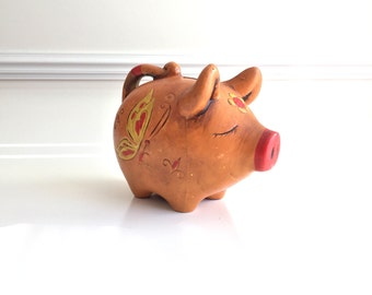 Vintage Piggy Bank Orange Pig with Butterflies Red Pink Nose Just Dreaming