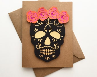 Day of the Dead - Black and Gold Catrina  | Mexican Style Handmade Card
